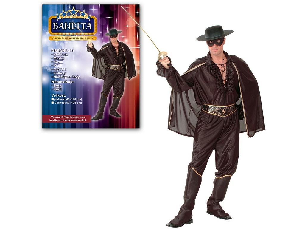Made Kostým na karneval - Bandita, pro dospělé (178 cm).