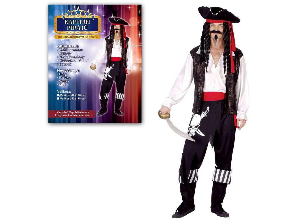 Made Kostým na karneval - Kapitán pirátů, pro dospělé (178 cm)