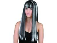 82529 - Paruka černobílá - dlouhé vlasy