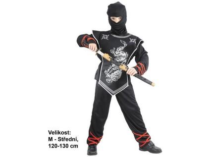 86150 - Kostým na karneval Stříbrný ninja, 120-130cm - 51508_86150