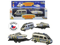99328 - Policejní auto s přívěsem a lodí, světlo a zvuk, volná kola, 19cm