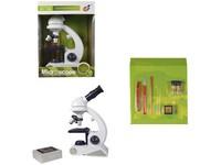 99624 - Mikroskop, 22cm, sklíčka, ampulky, nástroje součástí, přiblížení 80x, 200x, 450x