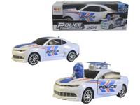 01484 - Auto policejní na baterie, světlo, zvuk, pohyb, transformace, 20cm