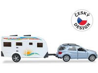 03042 - Auto s karavanem, 26cm, pull-back
