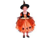 03816 - Šaty na karneval - dýňová čarodějka, 92-104 cm