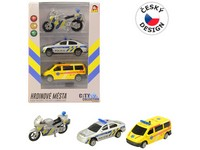 07215 - Sada motorka, osobní auto a dodávka, se světlem a zvukem