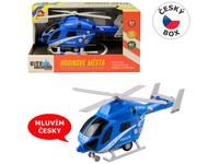 07633 - Vrtulník policejní na setrvačník, na baterie se světlem a zvukem