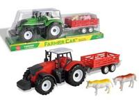 07757 - Traktor s přívěsem a zvířaty, na setrvačník, 10x35x9cm