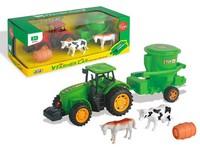 07770 - Traktor s vlečkou a zvířaty, na setrvačník, 7x25x7cm
